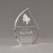 "Angle view of 7"" Aspect™ Flame™ Acrylic Award featuring laser engraved piano and appreciation award text."