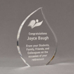 "Angle view of 8"" Aspect™ Flame™ Acrylic Award featuring laser engraved book logo and retirement text."