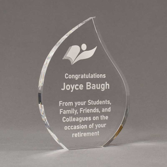 """Angle view of 8"""" Aspect™ Flame™ Acrylic Award featuring laser engraved book logo and retirement text."""