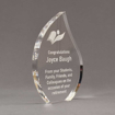 "Side view of 8"" Aspect™ Flame™ Acrylic Award featuring laser engraved book logo and retirement text."