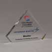 """Angle view of 6"""" Aspect™ Flat Peak™ Acrylic Award featuring Colorado Chamber of Commerce logo and printed member text."""