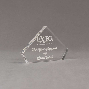 """Angle view of 4"""" Aspect™ Flat Peak™ Acrylic Award featuring laser engrave Exec's logo and thank you text."""