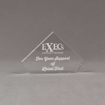 """Front view of 4"""" Aspect™ Flat Peak™ Acrylic Award featuring laser engrave Exec's logo and thank you text."""