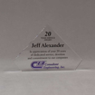 """Front view of 5"""" Aspect™ Flat Peak™ Acrylic Award featuring full color printed CEI logo and 20 year service award text."""