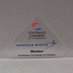 "Front view of 6"" Aspect™ Flat Peak™ Acrylic Award featuring Colorado Chamber of Commerce logo and printed member text."