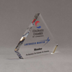 "Side view of 6"" Aspect™ Flat Peak™ Acrylic Award featuring Colorado Chamber of Commerce logo and printed member text."