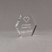 """Angle view of 4"""" Aspect™ Hexagon™ Acrylic Award featuring CVS logo laser engraved with Genuine Care Award text."""