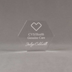 """Front view of 4"""" Aspect™ Hexagon™ Acrylic Award featuring CVS logo laser engraved with Genuine Care Award text."""