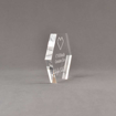 """Side view of 4"""" Aspect™ Hexagon™ Acrylic Award featuring CVS logo laser engraved with Genuine Care Award text."""