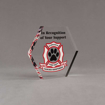 "Angle view of 5"" Aspect™ Hexagon™ Acrylic Award featuring Glendale Fire Department logo printed in full color with black text."
