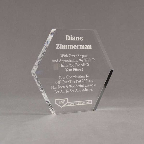 """Angle view of 6"""" Aspect™ Hexagon™ Acrylic Award featuring laser engraved FNF logo and appreciation award text."""