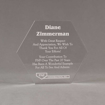 """Front view of 6"""" Aspect™ Hexagon™ Acrylic Award featuring laser engraved FNF logo and appreciation award text."""