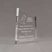 """Angle view of 7"""" Aspect™ Meridian™ Acrylic Award featuring Animal Ministry logo laser engraved with Honoris Causa text."""
