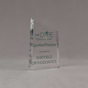 """Angle view of 6"""" Aspect™ Meridian™ Acrylic Award featuring CORE logo and certified practice text printed in full color."""