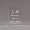 """Front view of 7"""" Aspect™ Meridian™ Acrylic Award featuring Animal Ministry logo laser engraved with Honoris Causa text."""