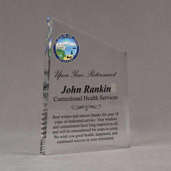 """Angle view of 8"""" Aspect™ Meridian™ Acrylic Award featuring Alaska State Seal in full color with retirement award text printed."""