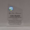 """Front view of 8"""" Aspect™ Meridian™ Acrylic Award featuring Alaska State Seal in full color with retirement award text printed."""
