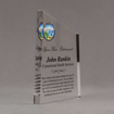 """Side view of 8"""" Aspect™ Meridian™ Acrylic Award featuring Alaska State Seal in full color with retirement award text printed."""