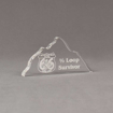 """Angle view of Aspect™ 7"""" Mountain™ Acrylic Award featuring laser engraved Mountain Man 66 logo with 1/2 loop survivor text."""