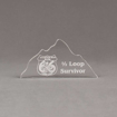 """Front view of Aspect™ 7"""" Mountain™ Acrylic Award featuring laser engraved Mountain Man 66 logo with 1/2 loop survivor text."""