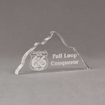 """Angle view of Aspect™ 8"""" Mountain™ Acrylic Award featuring laser engraved Mountain Man 66 logo with full loop conqueror text."""