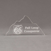 """Front view of Aspect™ 8"""" Mountain™ Acrylic Award featuring laser engraved Mountain Man 66 logo with full loop conqueror text."""