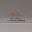 """Front view of Aspect™ 9"""" Mountain™ Acrylic Award featuring full color printed CNM logo with dedicated service award text."""