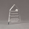 """Angle view of Aspect™ 7"""" Obelisk™ Acrylic Award featuring laser engraved Abundant Life logo and congratulations pastor text."""