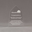 """Front view of Aspect™ 7"""" Obelisk™ Acrylic Award featuring laser engraved Abundant Life logo and congratulations pastor text."""