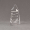 """Side view of Aspect™ 7"""" Obelisk™ Acrylic Award featuring laser engraved Abundant Life logo and congratulations pastor text."""