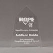 """Front view of Aspect™ 8"""" Obelisk™ Acrylic Award featuring laser engraved HOPE High School logo and champion scholarship text."""