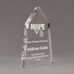 """Side view of Aspect™ 8"""" Obelisk™ Acrylic Award featuring laser engraved HOPE High School logo and champion scholarship text."""