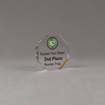 """Angle view of Aspect™ 3"""" Octagon™ Acrylic Award featuring Arizona Game and Fish logo printed in full color with 2nd Place text."""