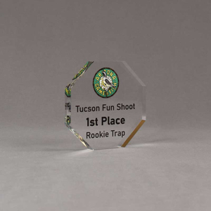 """Angle view of Aspect™ 4"""" Octagon™ Acrylic Award featuring Arizona Game and Fish logo printed in full color with 1st Place text."""