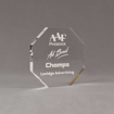 """Angle view of Aspect™ 5"""" Octagon™ Acrylic Award featuring laser engraved AAF Phoenix logo and Champs text."""