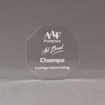 """Front view of Aspect™ 5"""" Octagon™ Acrylic Award featuring laser engraved AAF Phoenix logo and Champs text."""