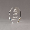"""Side view of Aspect™ 5"""" Octagon™ Acrylic Award featuring laser engraved AAF Phoenix logo and Champs text."""