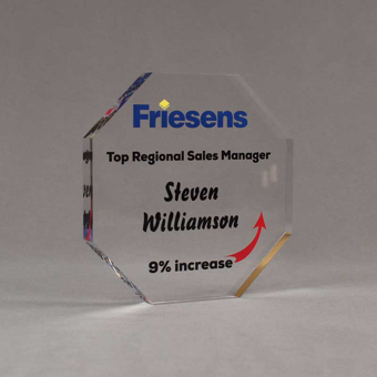 """Angle view of Aspect™ 6"""" Octagon™ Acrylic Award featuring Friesens logo printed in full color with Top Regional Manager text."""
