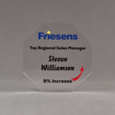 """Front view of Aspect™ 6"""" Octagon™ Acrylic Award featuring Friesens logo printed in full color with Top Regional Manager text."""