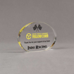 """Angle view of Aspect™ 4"""" Oval™ Acrylic Award featuring Yellow Corn Motor Sports logo printed in full color with Indo Racing text."""