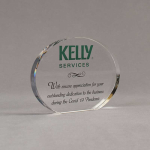 """Angle view of Aspect™ 5"""" Oval™ Acrylic Award featuring full color Kelly Services logo and sincere appreciation text."""