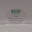 """Front view of Aspect™ 5"""" Oval™ Acrylic Award featuring full color Kelly Services logo and sincere appreciation text."""
