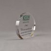 """Side view of Aspect™ 5"""" Oval™ Acrylic Award featuring full color Kelly Services logo and sincere appreciation text."""