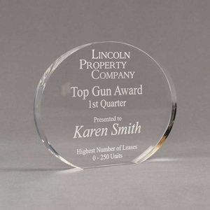 """Angle view of Aspect™ 6"""" Oval™ Acrylic Award featuring laser engraved Lincoln Property Company logo and Top Gun Award text."""