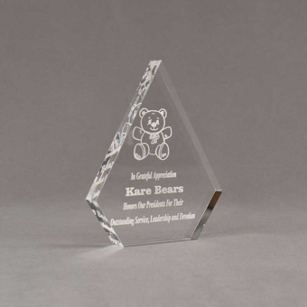 """Angle view of Aspect™ 6"""" Peak™ Acrylic Award featuring laser engraved Kare Bear logo and outstanding service leadership text."""