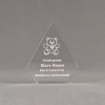 """Front view of Aspect™ 6"""" Peak™ Acrylic Award featuring laser engraved Kare Bear logo and outstanding service leadership text."""