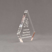 """Side view of Aspect™ 6"""" Peak™ Acrylic Award featuring laser engraved Kare Bear logo and outstanding service leadership text."""