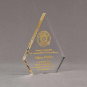 "Angle view of Aspect™ 7"" Peak™ Acrylic Award featuring printed American Legion logo and Award of Gratitude text."
