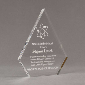 """Angle view of Aspect™ 8"""" Peak™ Acrylic Award featuring laser engraved science logo and Noes Middle School honoree text."""