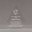"""Front view of Aspect™ 8"""" Peak™ Acrylic Award featuring laser engraved science logo and Noes Middle School honoree text."""